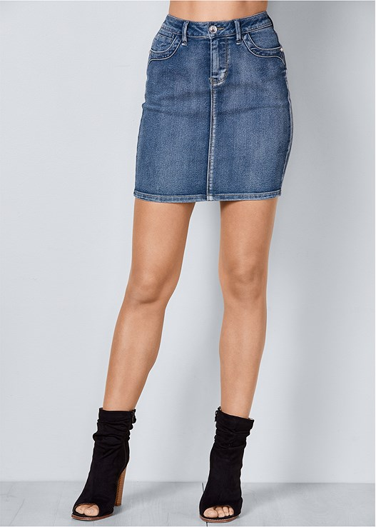 COLOR MINI JEAN SKIRT,SEAMLESS CUT OUT TOP,OPEN HEEL BOOTIE