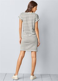 Back view Striped French Terry Dress