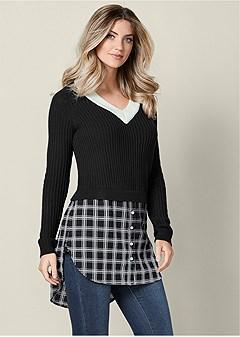 twofer color block sweater