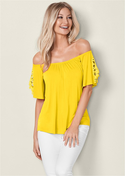 EYELET OFF THE SHOULDER TOP,COLOR SKINNY JEANS,ESPADRILLE PLATFORM WEDGES