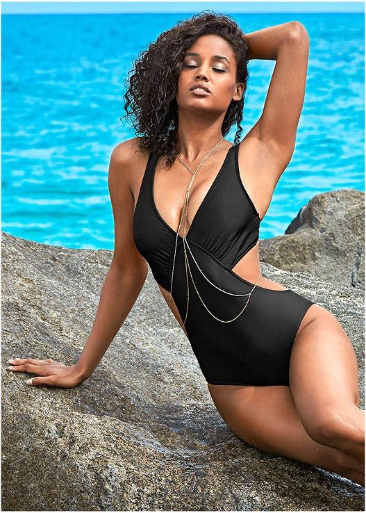 ANGLED MONOKINI,CAGED DETAIL COVER-UP