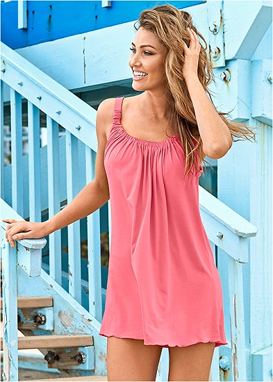 Gathered Neckline Cover-Up Dress