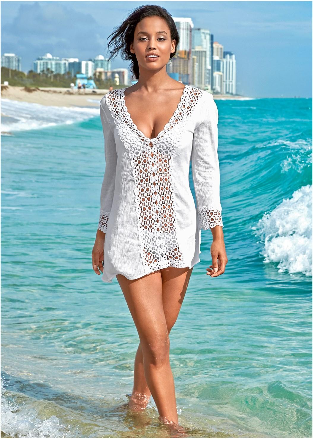 Open Crochet Trimmed Tunic,Scoop Front Classic Bikini Bottom