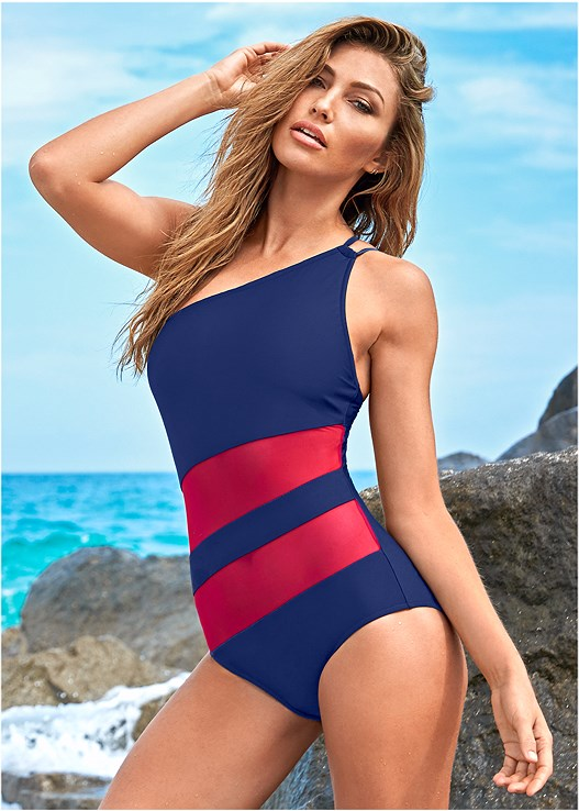 ONE SHOULDER MESH ONE-PIECE