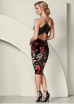 lace back bodycon dress