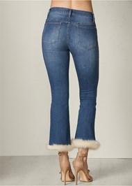Back View Faux Fur Cuff Jeans