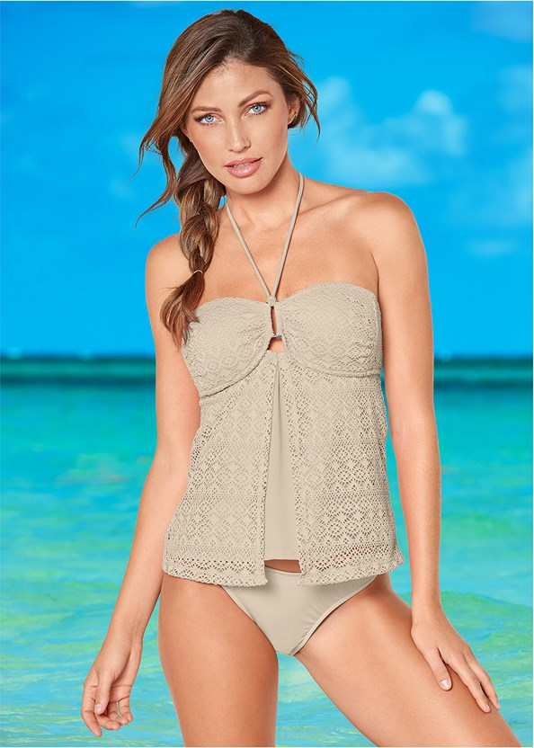 Crochet Bandeau Tankini,Scoop Front Classic Bikini Bottom ,Low Rise Classic Bikini Bottom