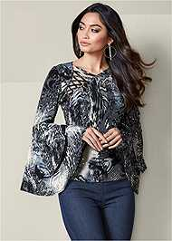 Front View Tiered Bell Sleeve Top