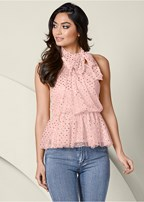 mesh detail peplum top