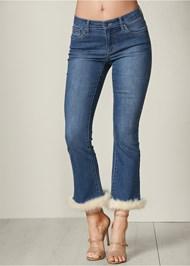 Front View Faux Fur Cuff Jeans