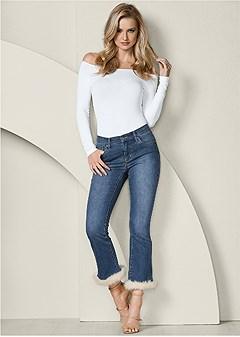 faux fur cuff jeans