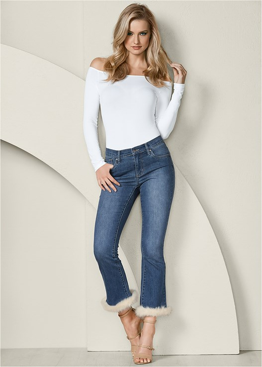 FAUX FUR CUFF JEANS,OFF THE SHOULDER TOP,FULL COVERAGE BRIEFS,BUCKLE DETAIL STRAPPY HEELS