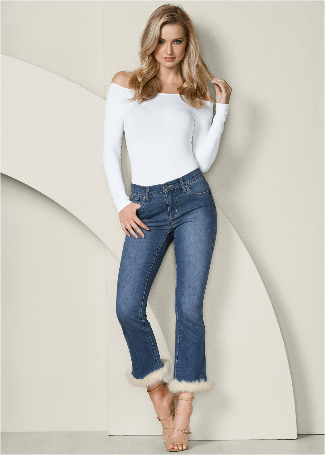 Faux Fur Cuff Jeans,Off The Shoulder Top,Buckle Detail Strappy Heels