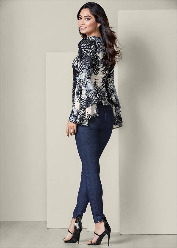 Back View Tiered Bell Sleeve Top