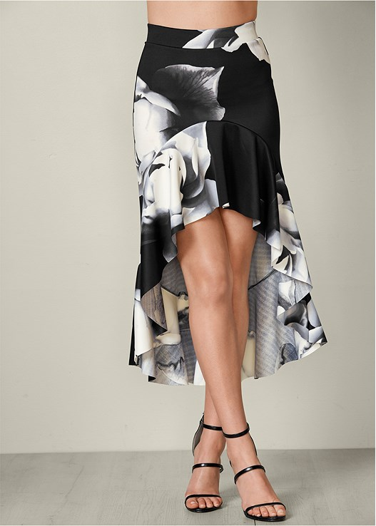 FLORAL HIGH LOW SKIRT,SEAMLESS CAMI,HIGH HEEL STRAPPY SANDALS