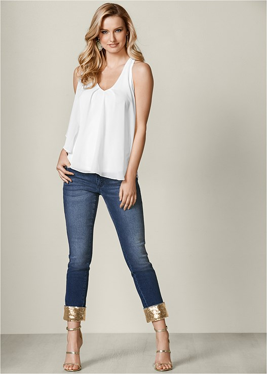 SEQUIN CUFF JEANS,RUFFLE FRONT TANK,HIGH HEEL STRAPPY SANDALS