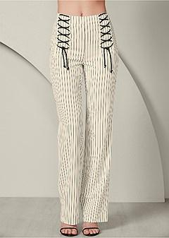 lace up detail pants