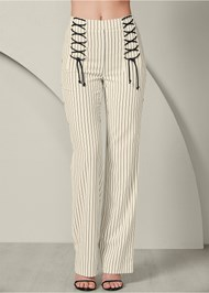Front View Lace Up Detail Pants
