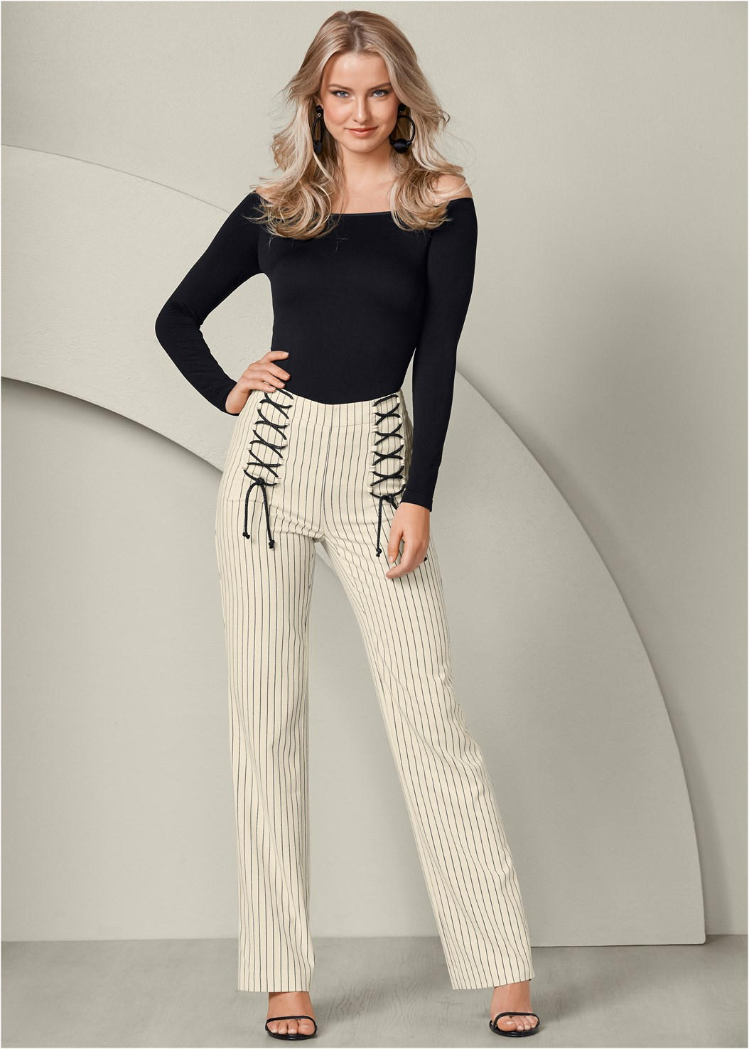 Lace Up Detail Pants,Off The Shoulder Top,High Heel Strappy Sandals,Bauble Hoop Earrings