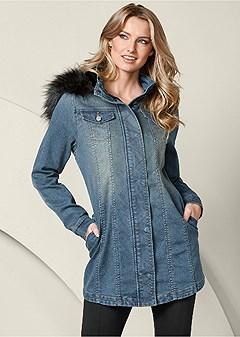 faux fur detail jean jacket