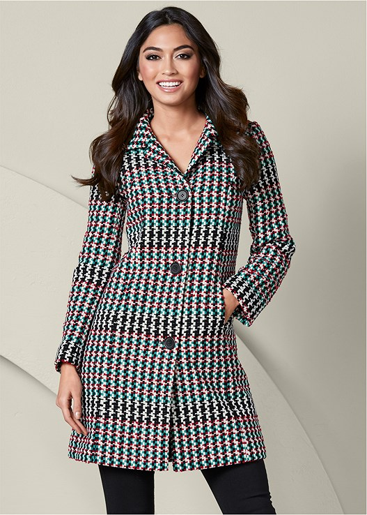 HOUNDSTOOTH COAT,SLIMMING STRETCH JEGGINGS,TIE BACK BOOTS