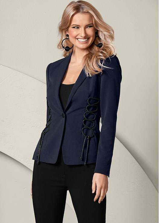 LACE UP DETAIL BLAZER,SEAMLESS CAMI,SLIMMING STRETCH JEGGINGS,HIGH HEEL STRAPPY SANDALS,BAUBLE HOOP EARRINGS