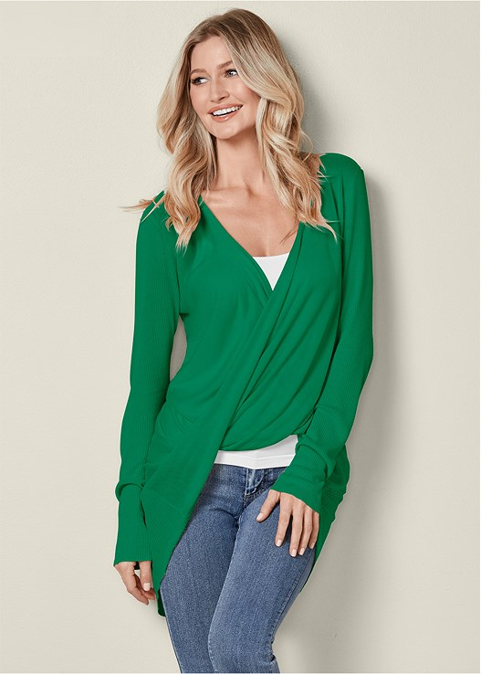 WRAP FRONT SWEATER,SEAMLESS CAMI,COLOR SKINNY JEANS