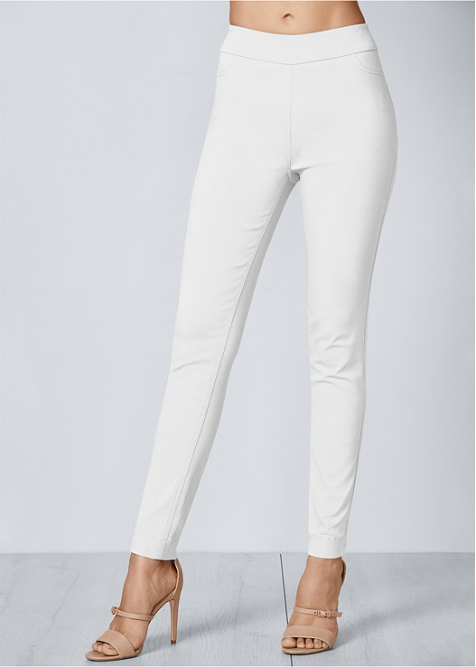 SLIMMING STRETCH JEGGINGS,ZIPPER DETAIL SWEATER,BRAIDED DETAIL WEDGE