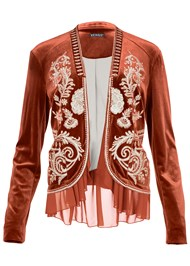 Alternate View Embroidered Velvet Jacket