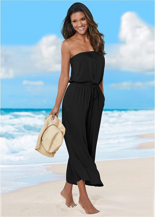 STRAPLESS JUMPSUIT,DRIP DROP CROCHET ONE-PIECE