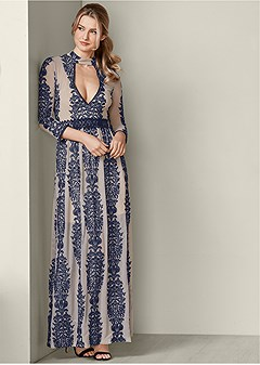 plunging embroiderd dress