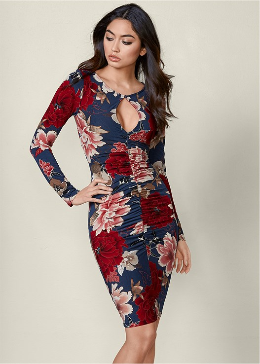 OPEN BACK BODYCON DRESS,3 PK OF PETALS