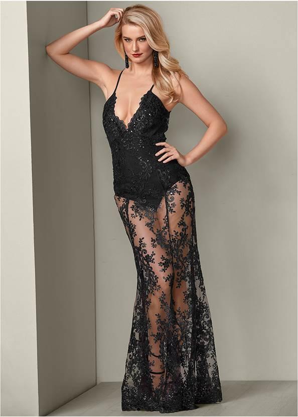 Sheer Lace Detail Dress