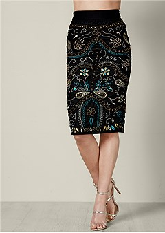 embellished midi skirt