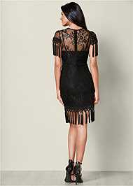 Back View Tassel Detail Lace Dress