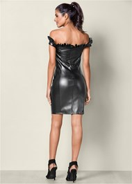 Back View Faux Leather Bodycon Dress