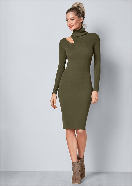 Cut Out Sweater Dress In Olive Venus