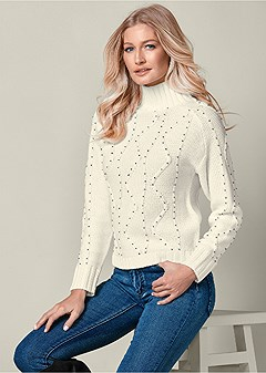 embellished turtleneck