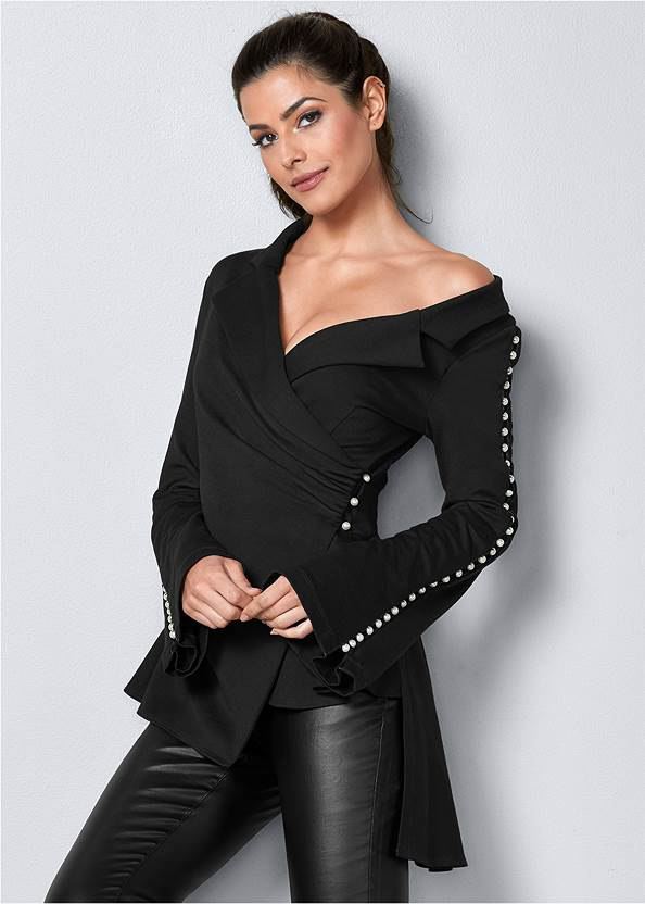 Pearl Detail Top,Faux Leather Pants,Tie Back Boots,Slouchy Mid-Calf Boot