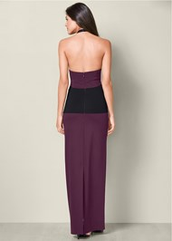 Back View Mesh Detail Long Dress