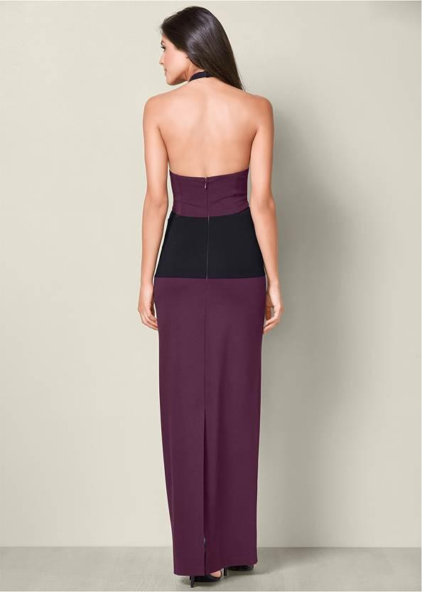 Back View Mesh Detail Long Dress