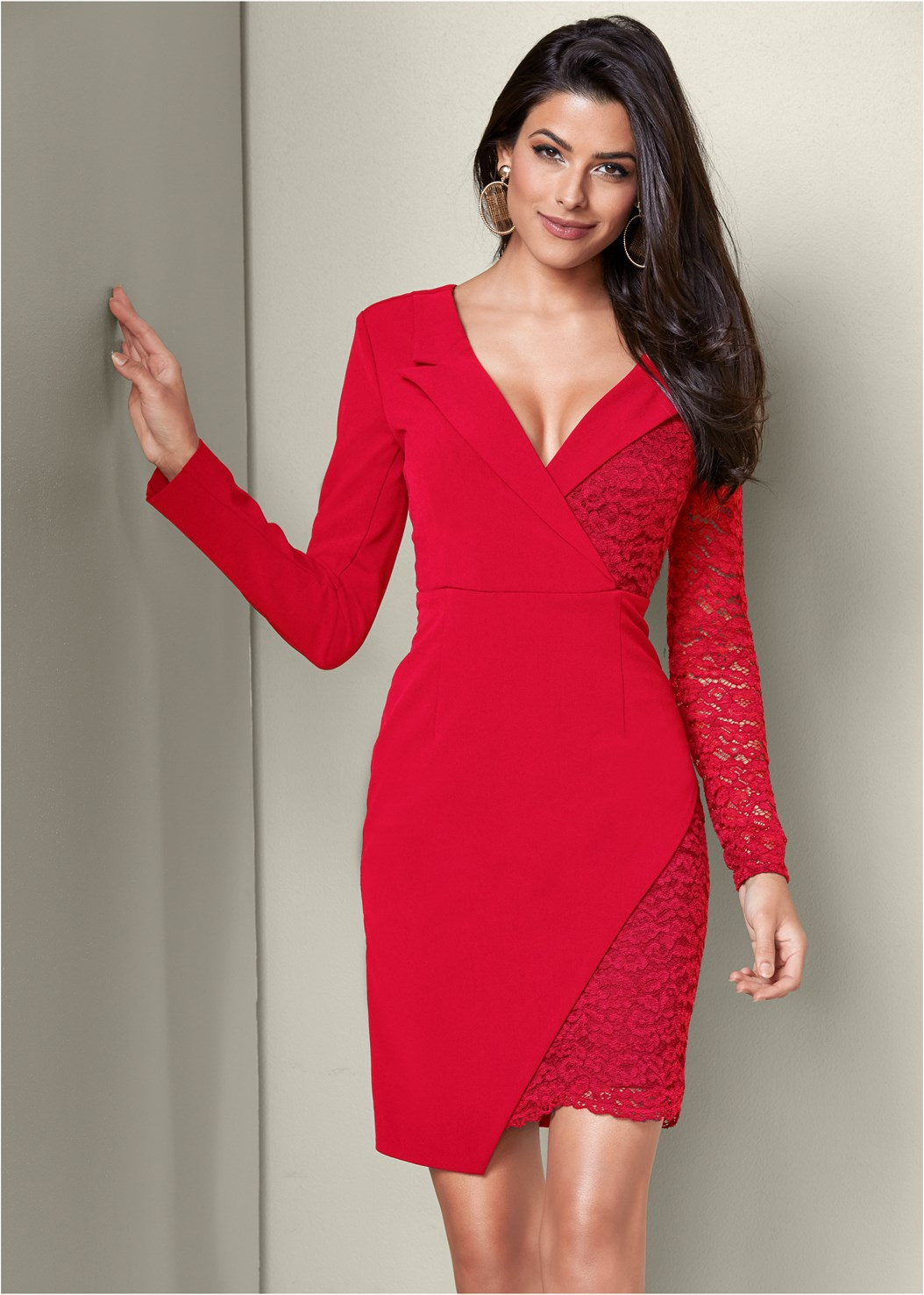 Lace Surplice Detail Dress,Buckle Detail Strappy Heels