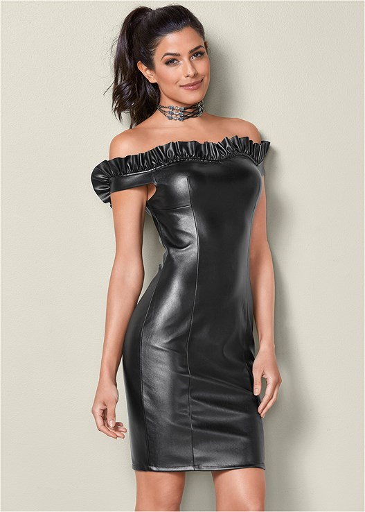 FAUX LEATHER BODYCON DRESS,CRISSCROSS CHOKER