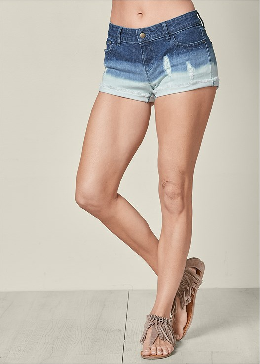 OMBRE DENIM SHORTS,SEAMLESS CAMI