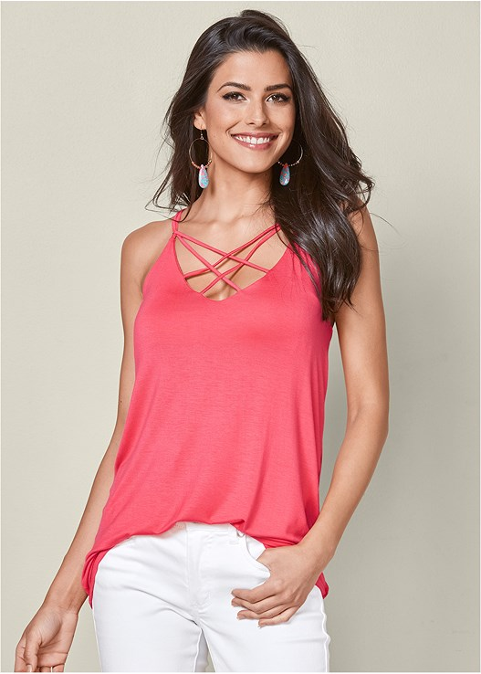 STRAPPY DETAIL TANK,COLOR SKINNY JEANS