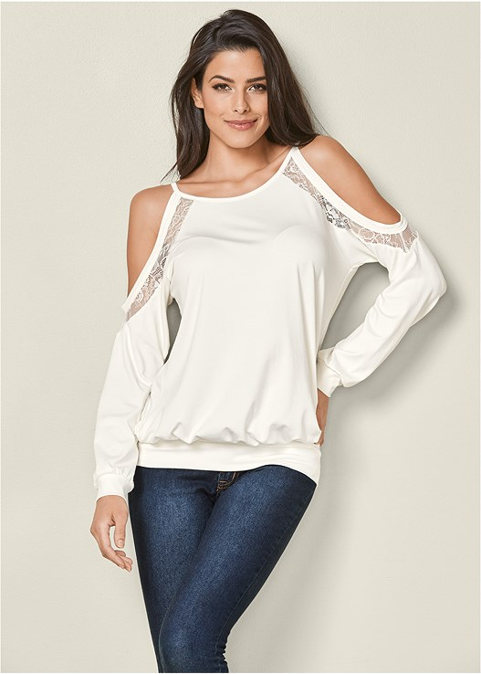 LACE TRIM CASUAL TOP,COLOR SKINNY JEANS,PERFORATED BOOTIE