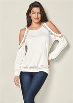 lace trim casual top