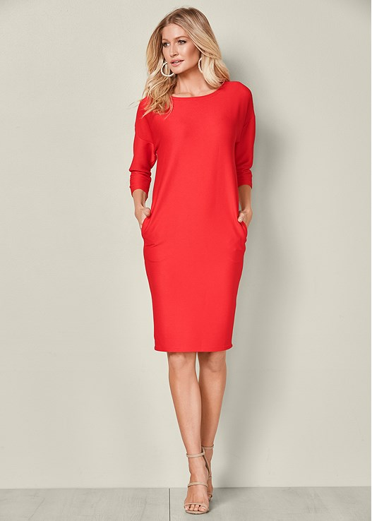 Red Casual Dress With Pockets From Venus
