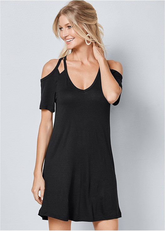 Cold Shoulder Dress In Black Venus