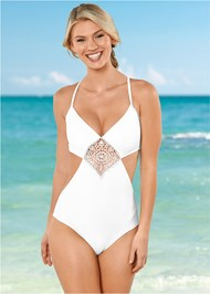 Front View Crochet Trimmed Monokini